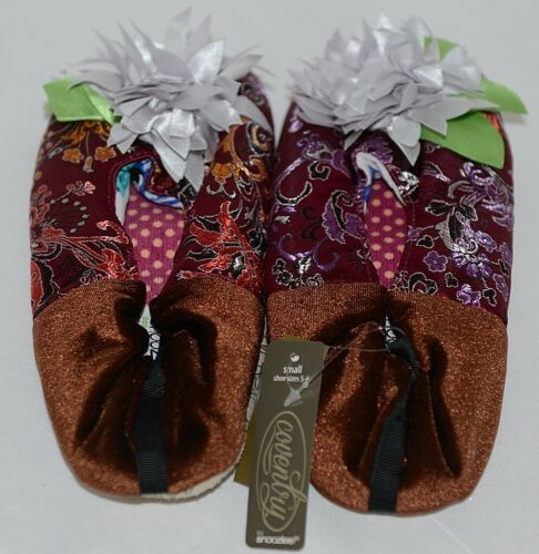 Snoozies Brand Coventry Collection Burgundy Brown Womens Slippers Size SM