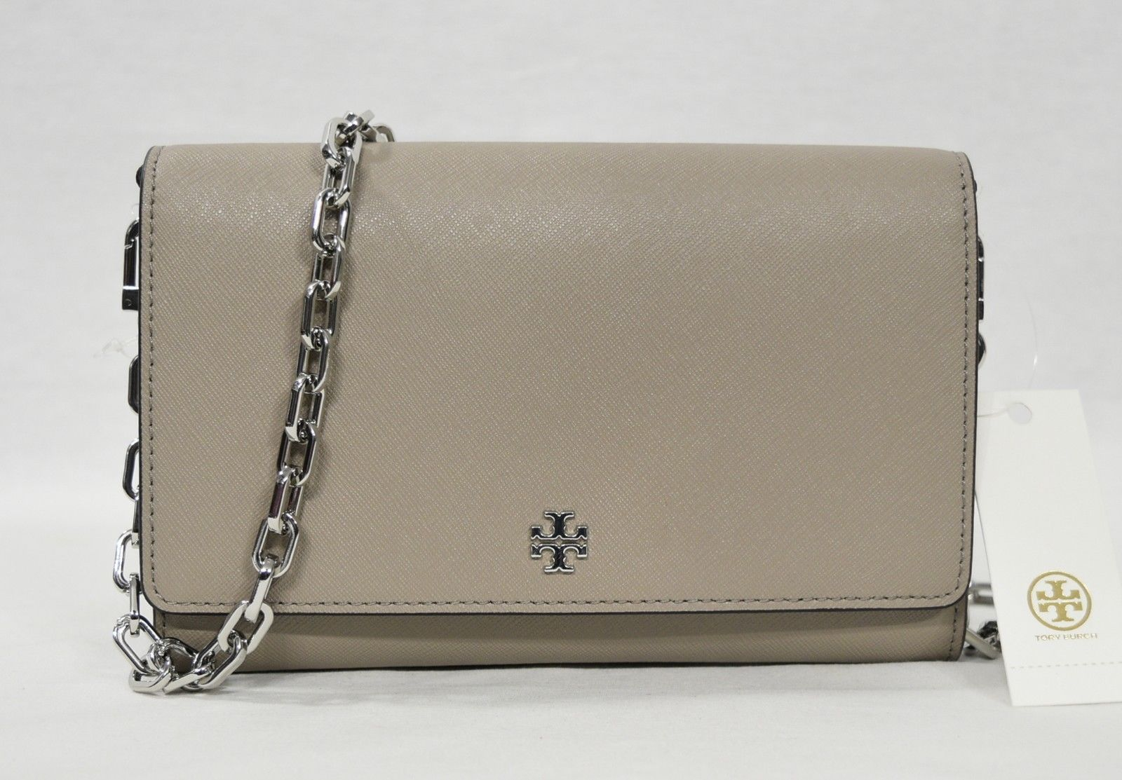 Primary image for Tory Burch Robinson Leather Chain Wallet/Shoulder/Crossbody Bag in French Gray