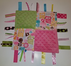 Tags Baby Pink Green Owls Security Blanket Lovey Minky Dots Ribbons - $17.40 CAD