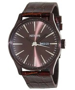 """NWT Nixon Men's A105471 """"Sentry"""" Brown Stainless Brown Leather Watch - $128.65"""