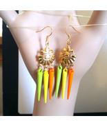 fleur de lis chandelier earrings spike drop earrings long dangles multi ... - $4.99