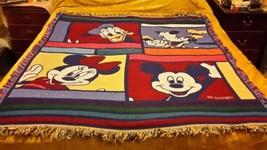 "Vintage Disney Mickey & Friends Throw Blanket Fringed Soft 51"" x 55"" USA  - ₹2,326.15 INR"