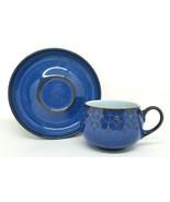 DENBY England MIDNIGHT BLUE Tea Cup & Saucer STONEWARE GORGEOUS! - $16.95