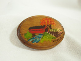 Hand Paint Oval Wood Fall Covered Bridge Scene Brooch Pin Signed Lynette... - $13.85