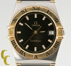 Omega Constellation Quartz Two-Tone Watch w/ Diamond Dial & Date Feature - $2,909.76