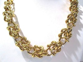 VERY HEAVY LINKS INTRICATE DESIGN J. CREW NECKLACE BRIGHT GOLD TONE RUNWAY  - $55.00