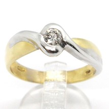 18K WHITE YELLOW GOLD SOLITAIRE WEDDING BAND TWISTED WAVE RING DIAMOND CT 0.18  image 1