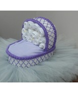 Bassinet Diaper Cake Lilac Purple and Silver Theme Baby Shower with Tutu... - $65.00