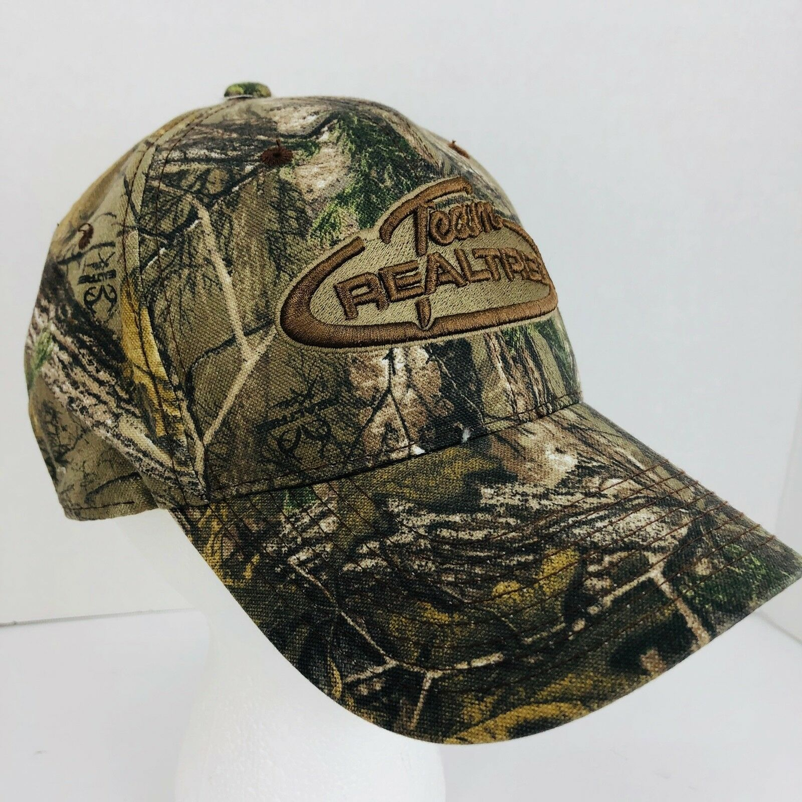 Team Realtree Camo Baseball Cap Hat Embroidered Adjustable Back Brown