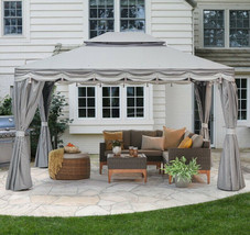 Metal Gazebo Aluminum Frame 10x12 Canopy Privacy Curtains Mosquito Net S... - $494.99