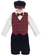 Baby Boys 5 Pc Plaid Vest & Velvet Knickers Holiday Party Outfit Red, 2T - $77.17