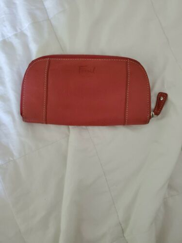 FOSSIL Zip Around Pebbled Leather Wallet Clutch Pink