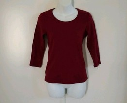 Karen Scott Women's 3/4 Sleeve Scoop Neck Merlot Wine Top Size PP - $9.40