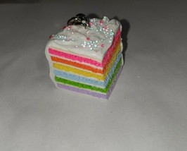 Rainbow Cake Keychain Silver Dessert Cake Layers Rainbow Charm Accessory - $7.50