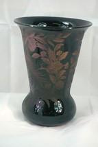 Cambridge 1929 Etch 736 Peacock And Rose Black Vase - $97.01