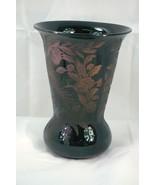 Cambridge 1929 Etch 736 Peacock And Rose Black Vase - $88.19