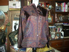 RALPH LAUREN Raisin Paisley Silk Blouse Size 4 - $19.80