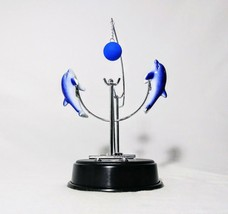 NEW Perpetual Motion Blue Dolphins Magnetic Swing Mobile Office Knick Kn... - $19.34