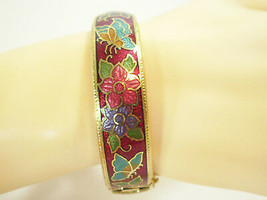 Cloisonne Bangle Bracelet RED Butterfly Flowers Hinged Safety Chain Vint... - $12.82