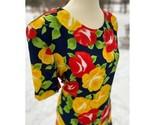 Vintage Bright Floral Skirt Set Carman Miranda Style Red Yellow Boxy Maxi