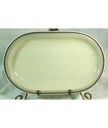 """Hutschenreuther Gelb Turvel Shaped 3 Color Bands 11"""" Oval Platter - $10.70"""