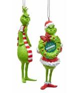 KURT ADLER THE GRINCH™ SET OF 2 BLOW MOLD CHRISTMAS ORNAMENTS - $13.88
