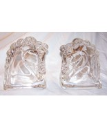 Pair of Federal Clear Glass Art Deco Horse Head Bookends-Hollow-5 1/2 in... - $18.50