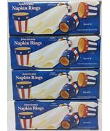 Patriotic Classic Americana Hand Painted Terra Cotta Napkin Rings Set of 16 - $18.76