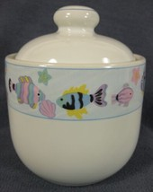 Vitromaster Sea Side Sugar Bowl with Lid Stoneware Fish and Shells on Wh... - $21.95