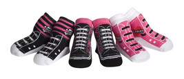 Jazzy Toes Rock Chick Kicks Socks-Gift Set-3 Pair-Size 0-12 Months-WOW! - $16.99