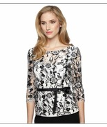 NWT ALEX EVENINGS WHITE BLACK FLORAL LACE BLOUSE SIZE L $139 - $39.72