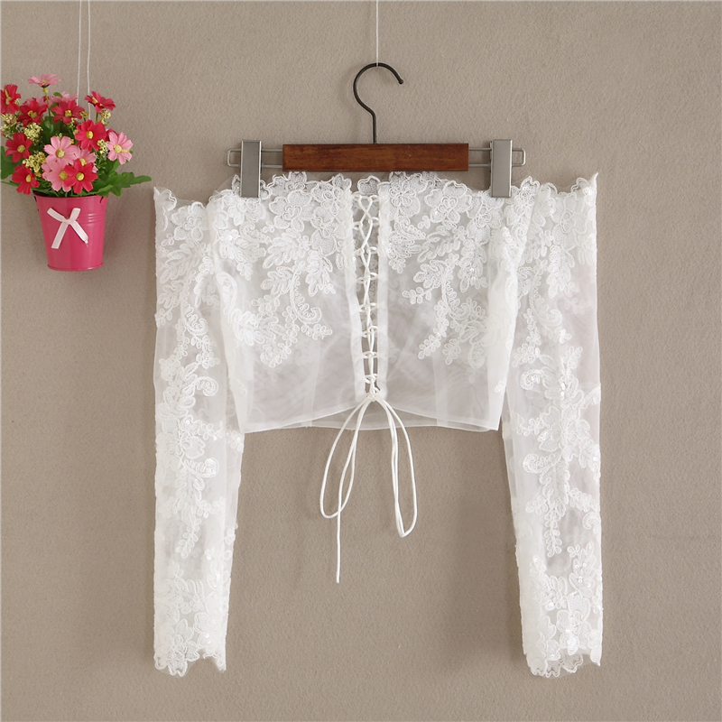 Wedding Long Sleeve Off Shoulder Crop Lace Top Floral Embroidery Lace Bridal Top