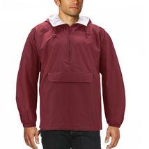 Men's Water Resistant Windbreaker Hooded Half Zip Pullover Rain Jacket image 8