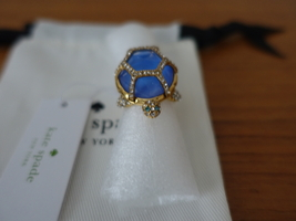 Kate Spade New York Gold Paradise Found Royal Blue Turtle Ring. Size 8, Nwt - $74.99