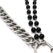 925 Silver Necklace, Double Onyx, Chain Dangle, Heart worked image 4