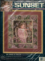 Sunset Cross Stitch Kit An Angel's Touch, Angel Dress Light Pink with Wings - $18.00