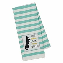 Home Is Where Someone Purrs To Greet You Dish Towel Cat Embellished New ... - $14.84