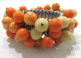Vintage Costume Jewelry Stretch Bracelet Round Beads Coral Color Made In... - $35.00