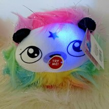 Rainbow Dreams Mini Fuzzy Plush Neon Light-Up Panda Face Animal Clip On - $11.88