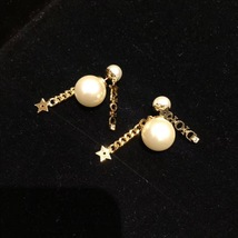 AUTH CHRISTIAN DIOR 2020 J'ADIOR DOUBLE PEARL GOLD STAR DANGLE FINISH EARRINGS image 4