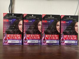 4 Schwarzkopf Keratin Color #4.68 DARK AUBURN Permanent Hair Color Hair Dye NEW - $37.40