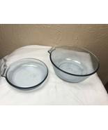 2 Vintage Pyrex Flameware Blue Tint Pans Glass Pots *No Handles* - $18.66