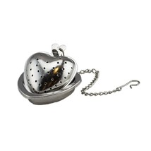 Stainless Steel Heart Shaped Tea Bag Infuser with Holder, Silver Color - £15.71 GBP