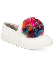 New in Box Betsey Johnson Trixy Feather Pom Pom White Platform Sneakers 6.5 - $39.59