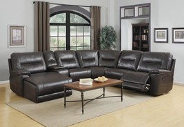 Global Furniture 9917 Dark Brown Leather Air Recliner Sectional w/Chaise... - $2,250.00