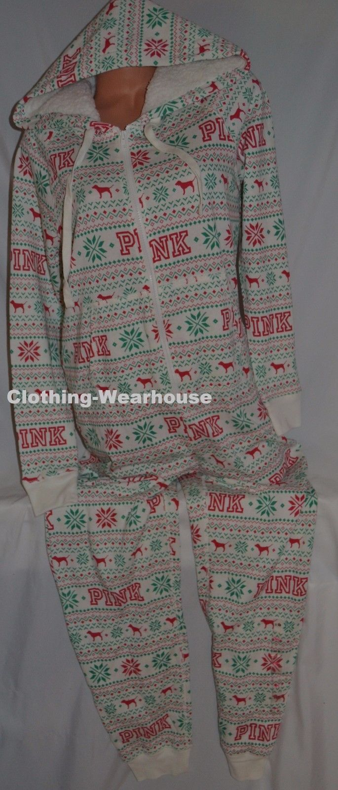 156cba4173 57. 57. Victoria s Secret PINK Holiday Dog Red Sherpa Hooded Long Jane  Pajama Suit XS  Victoria s Secret ...