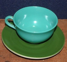 1950's Hazel Atlas Cup And Saucer Ovide Aqua Cup - Dark Green Saucer - $6.92