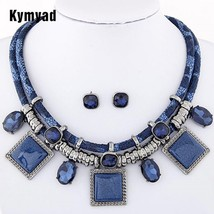 Kymyad Collier Femme Geometric Necklaces & Pendants Jewelry Sets Crystal... - $11.16