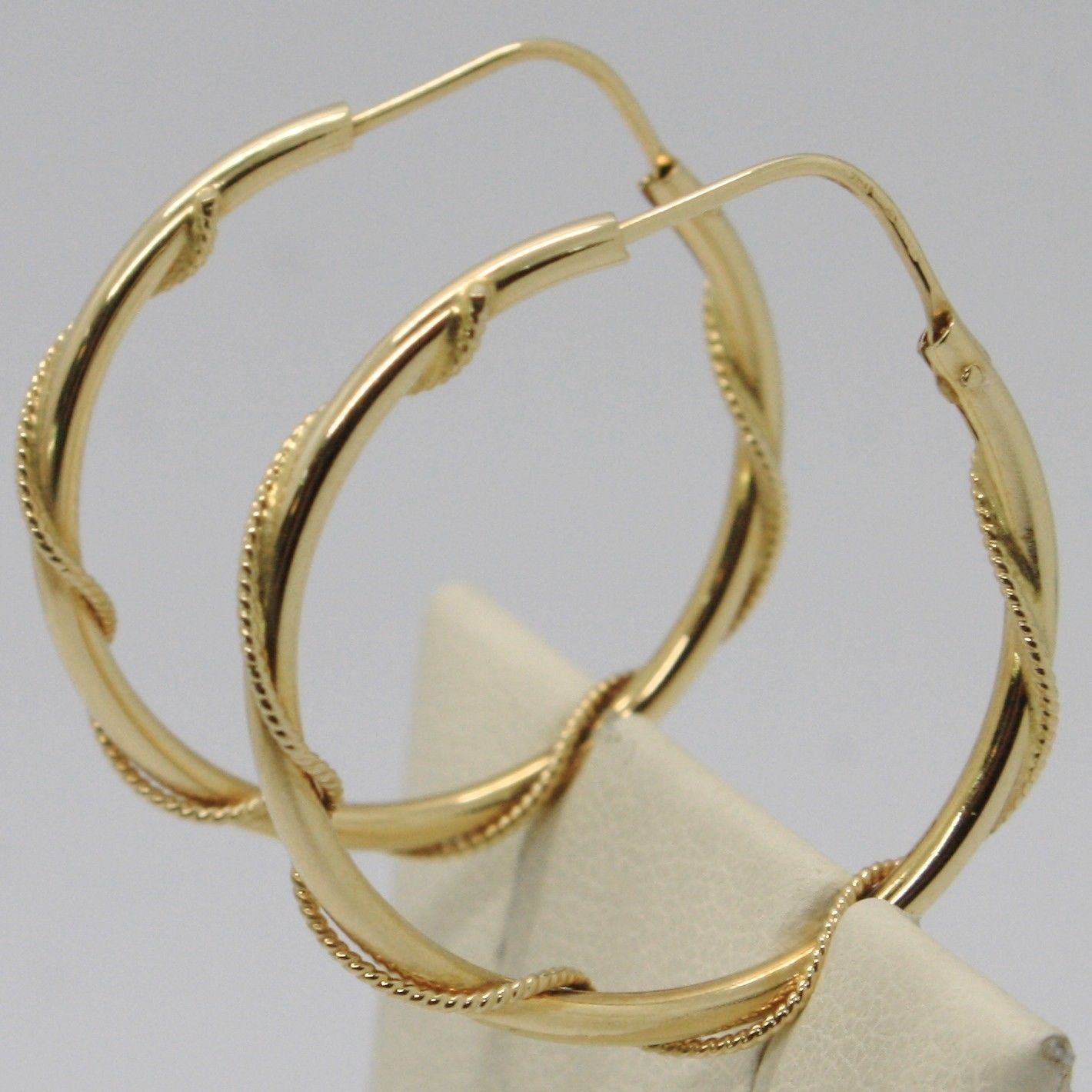 18K YELLOW GOLD PENDANT CIRCLE HOOPS DOUBLE TUBE TWISTED EARRINGS, MADE IN ITALY
