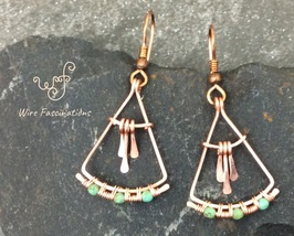 Handmade copper earrings: fan with dangles wire wrapped turquoise glass ... - $30.00